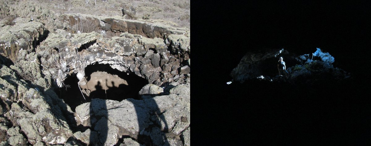 view from outside of lava tube, and inside looking back