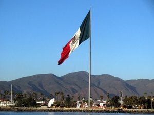 Giant Mexican flag in Ensenada waterfront