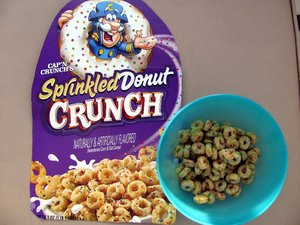Bowl of Donut Crunch cereal