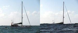 S/V Hoptoad disappearing in the troughs of large swells