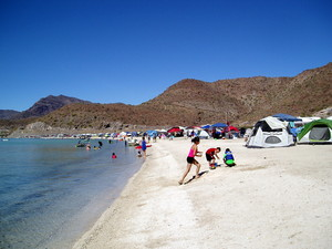 Tents lining the beach at Playa Santispac
