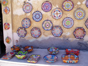 Colourful pottery in Loreto