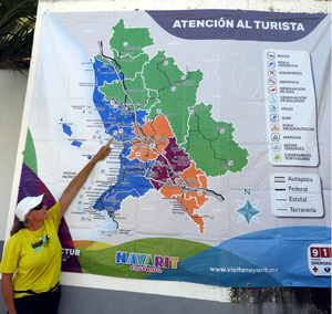 Barb pointing out San Blas on tourist map
