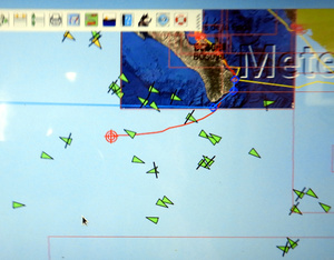 AIS display of many freighters near Baja California