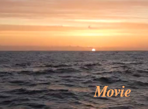Movie: setting sun hiding and revealing behind swell