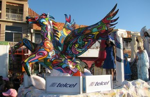 Telcel Carnaval float with colourful Pegasus