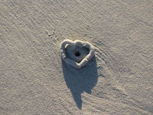 Sand extrusion making heart shape