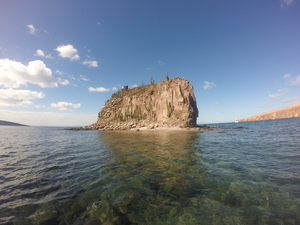 Monument Rock in middle of Caleta el Candelero