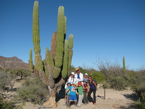 Silly Group shot of hikers beside cactus