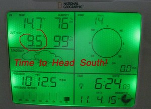 Weather station display showing cold morning