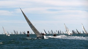 In the midst of a regatta in San Diego Bay channel