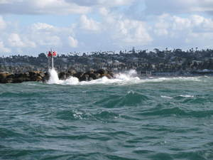Spray and waves at Mission Bay Harbour entrance
