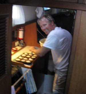 Bjarne making muffins